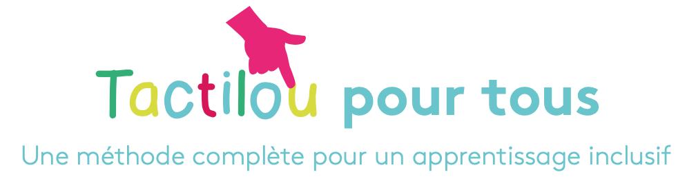 logo de la méthode, tactilou est écrit en lettres colorées, un index pointe et montre la lettre u